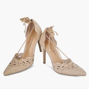 Christian Siriano lace up tan suede heels size 9
